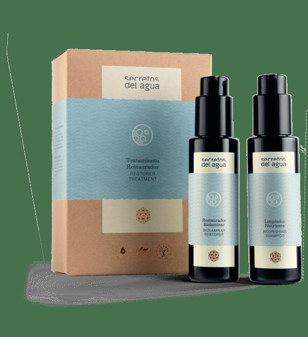Productos para restaurar el cabello dañado de Secretos del Agua